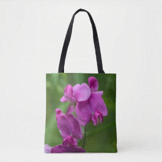 Sweet Pea Pretty Pink Wildflowers Floral Tote Bag