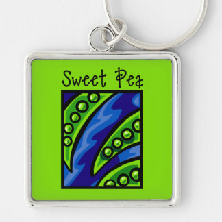 Sweet Pea Silver-Colored Square Keychain