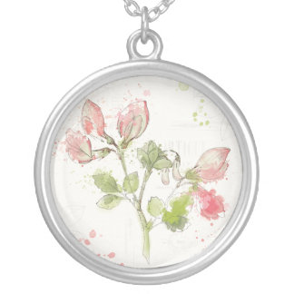 Sweet Pea watercolor Silver Plated Necklace