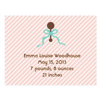 Sweet Peach Birth Announcement Postcard