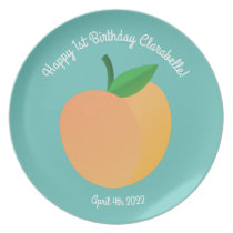 Sweet Peach Cute Fruit 1st Birthday Party Theme Dinner Plate