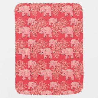 Sweet Peach elephants cozy baby blanket