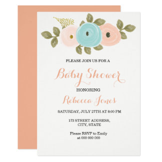 Sweet Peach Floral Baby Shower Invitation