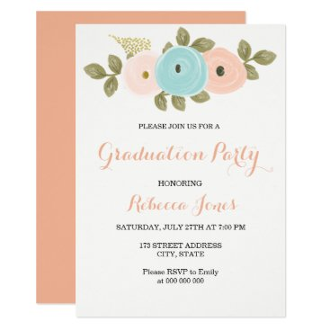 Aztec Themed Sweet Peach Floral Graduation Party Invitation