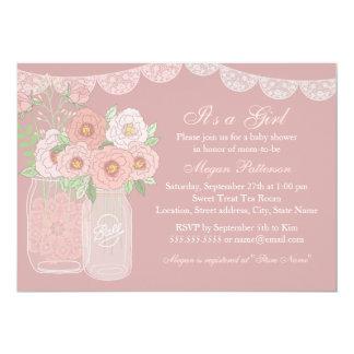 Sweet Peach & Pink Mason Jar Baby Shower Invite