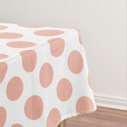 Sweet Peach Polka Dots On White Tablecloth