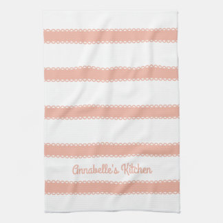 Sweet Peach Ribbons Personalized Kitchen Towel