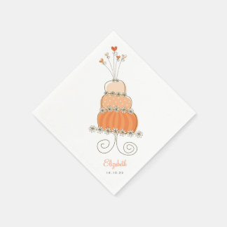Sweet Peach Wedding Cake Bridal Shower Chic Party Napkin