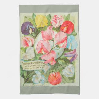 Sweet Peas: 1906 seed catalogue illustration Kitchen Towel