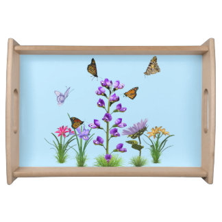 Sweet Peas and Butterflies Fantasy Serving Tray