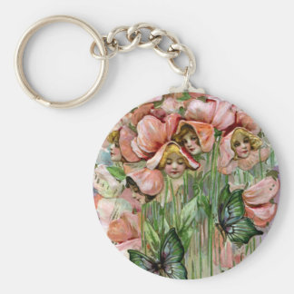 Sweet Peas and Butterflies Vintage Easter Basic Round Button Keychain