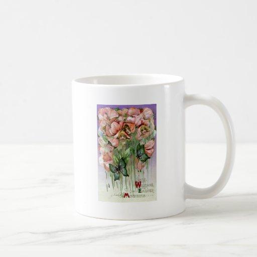 Sweet Peas and Butterflies Vintage Easter Mugs