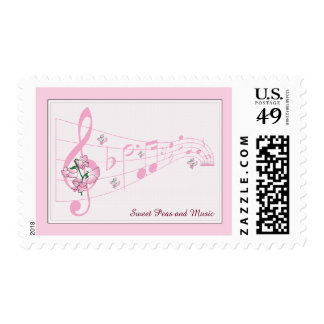 Sweet Peas and Music Postage Stamp
