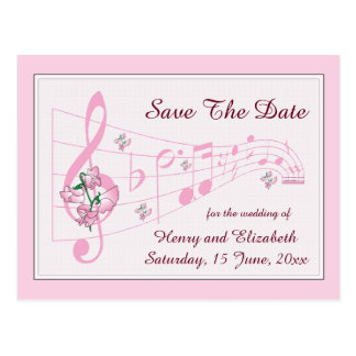 Sweet Peas and Music Save The Date Card