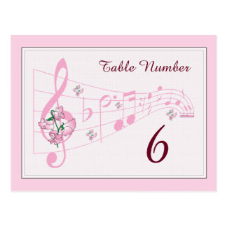 Sweet Peas and Music Table Number Card