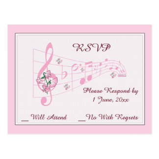 Sweet Peas and Music Wedding RSVP Card