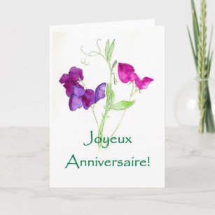 French wishes birthday cards zazzle sweet peas birthday card french greeting m4hsunfo
