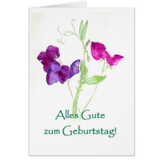 Sweet Peas Birthday Card - German Greeting