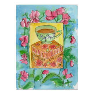 Sweet Peas Cup of Tea Watercolor Painting Poster