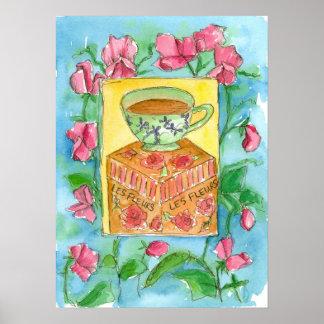 Sweet Peas Cup of Tea Watercolor Painting Poster