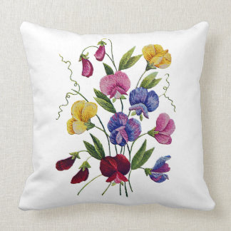 Sweet Peas Faux Crewel Embroidery Pillow