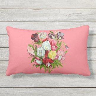 Sweet Peas Full Color Outdoor Lumbar Pillow