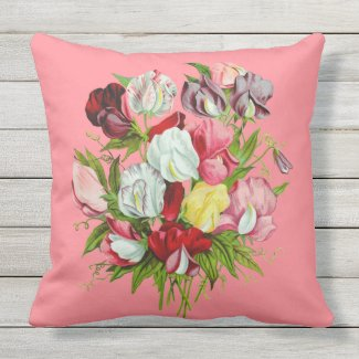 Sweet Peas Full Color Outdoor Pillow 20x20