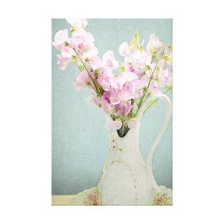 Sweet Peas in Antique Vase Canvas Prints