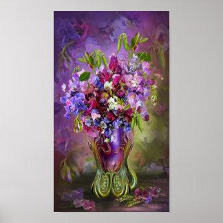 Sweet Peas In Sweet Pea Vase Art Poster/Print