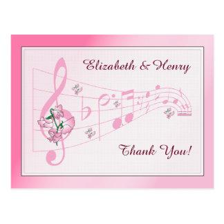 Sweet Peas & Music Wedding Thank You Card