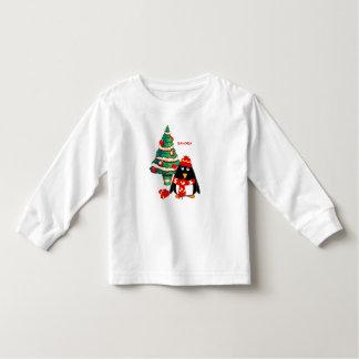 Sweet Penguin Custom Name Christmas Kids T-Shirts