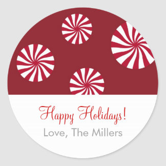 Sweet Peppermint Holiday Christmas Gift Stickers