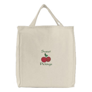 Sweet Pickings Two Cherries Cherry Grocery Embroidered Tote Bag