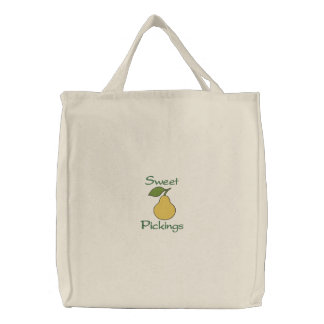 Sweet Pickings Yellow Pear Fruit Grocery Embroidered Tote Bag