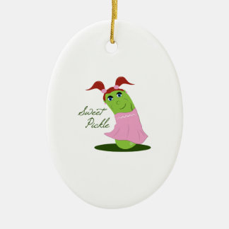 Sweet Pickle Double-Sided Oval Ceramic Christmas Ornament