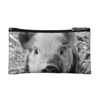 sweet piglet, black white makeup bag