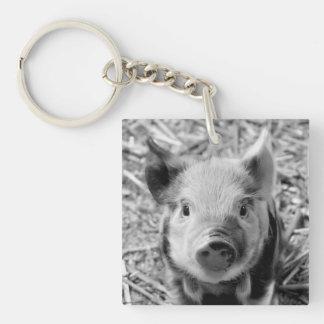 sweet piglet, black white Double-Sided square acrylic keychain