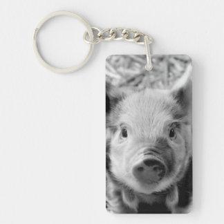 sweet piglet, black white Single-Sided rectangular acrylic keychain