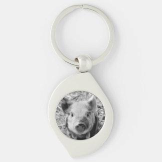 sweet piglet, black white Silver-Colored swirl metal keychain