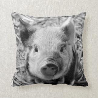 sweet piglet, black white throw pillow