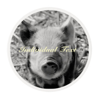 sweet piglet, black white edible frosting rounds