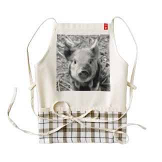 sweet piglet, black white zazzle HEART apron