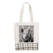 sweet piglet, black white zazzle HEART tote bag