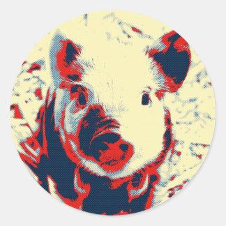 sweet piglet toony red classic round sticker