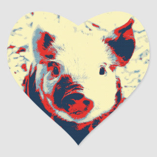 sweet piglet toony red heart sticker