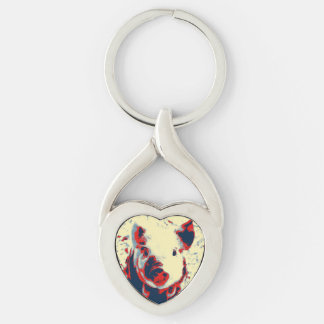 sweet piglet toony red Silver-Colored Heart-Shaped metal keychain
