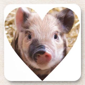 sweet piglet white heart mask coasters