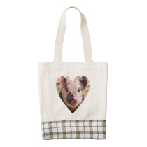 sweet piglet white heart mask zazzle HEART tote bag