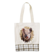 sweet piglet white mask zazzle HEART tote bag