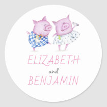 Sweet Pigs Couple Wedding Classic Round Sticker